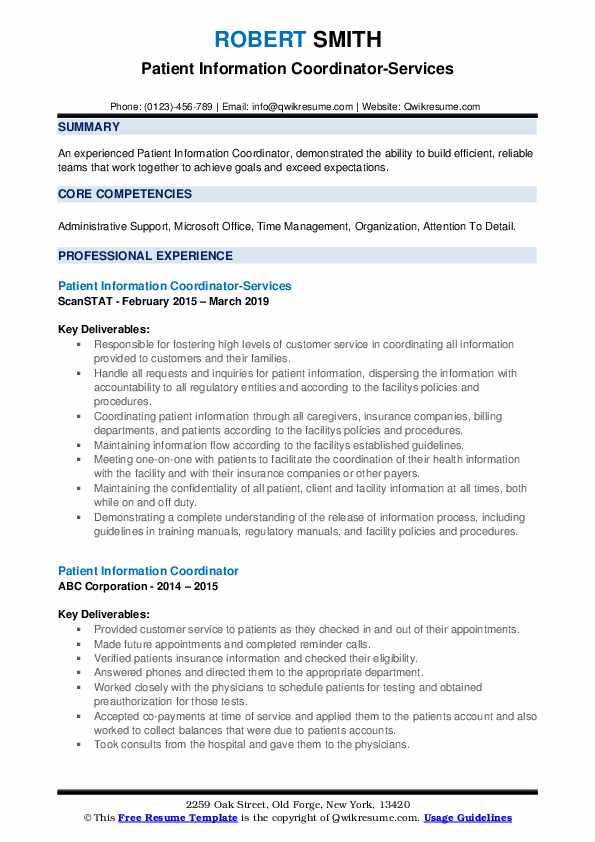 Patient Information Coordinator-Services Resume Example