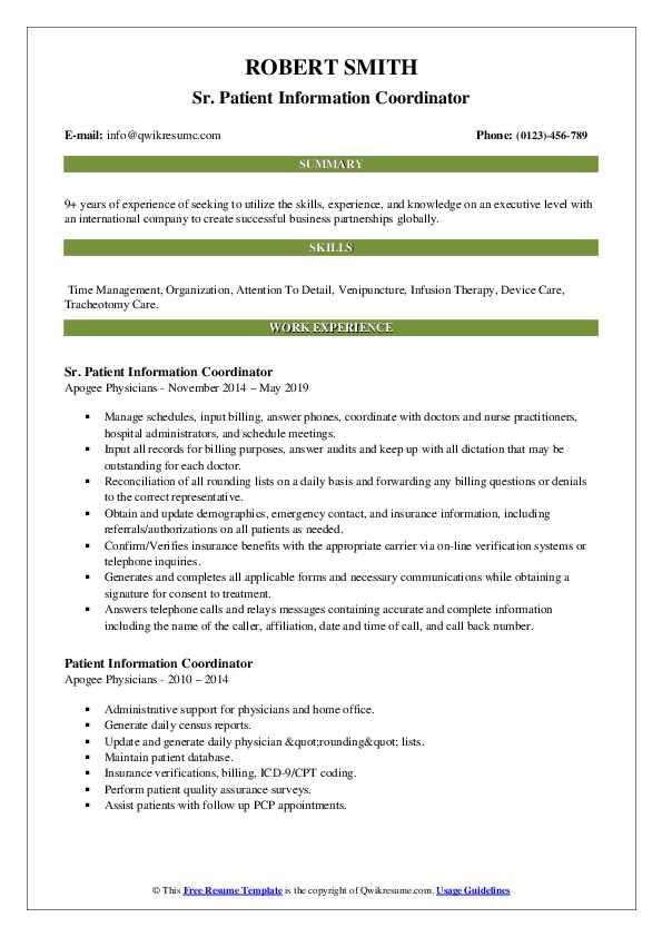 Sr. Patient Information Coordinator Resume Format