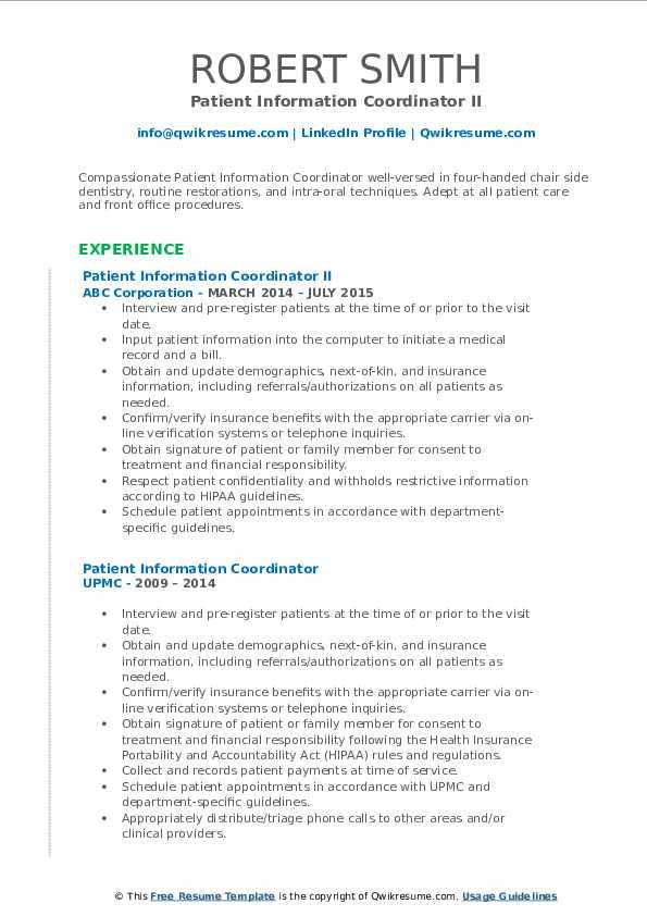 Patient Information Coordinator II Resume Format