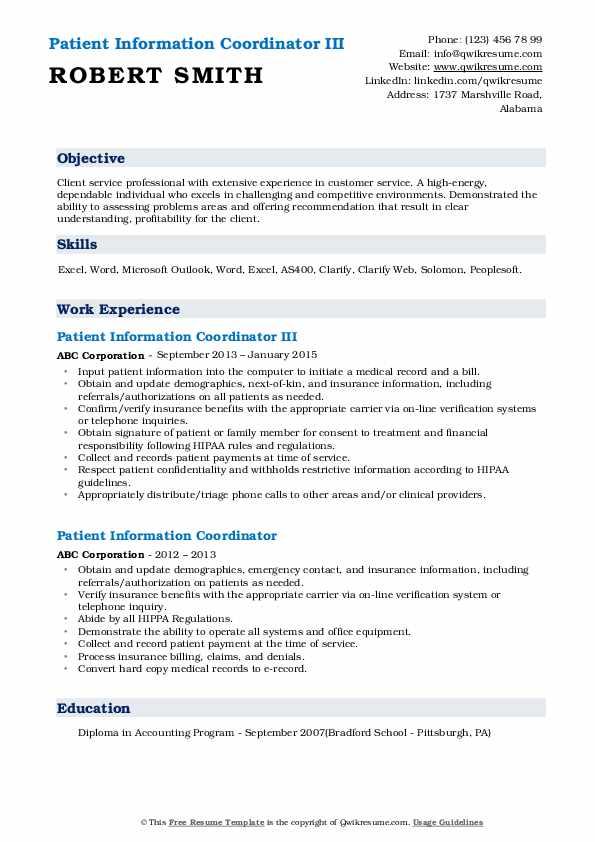 Patient Information Coordinator III Resume Template
