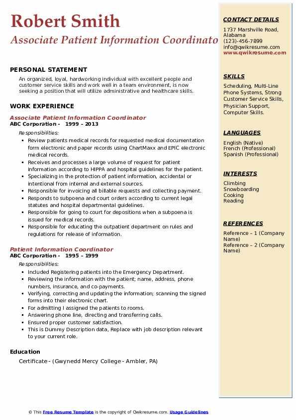 Associate Patient Information Coordinator Resume Template