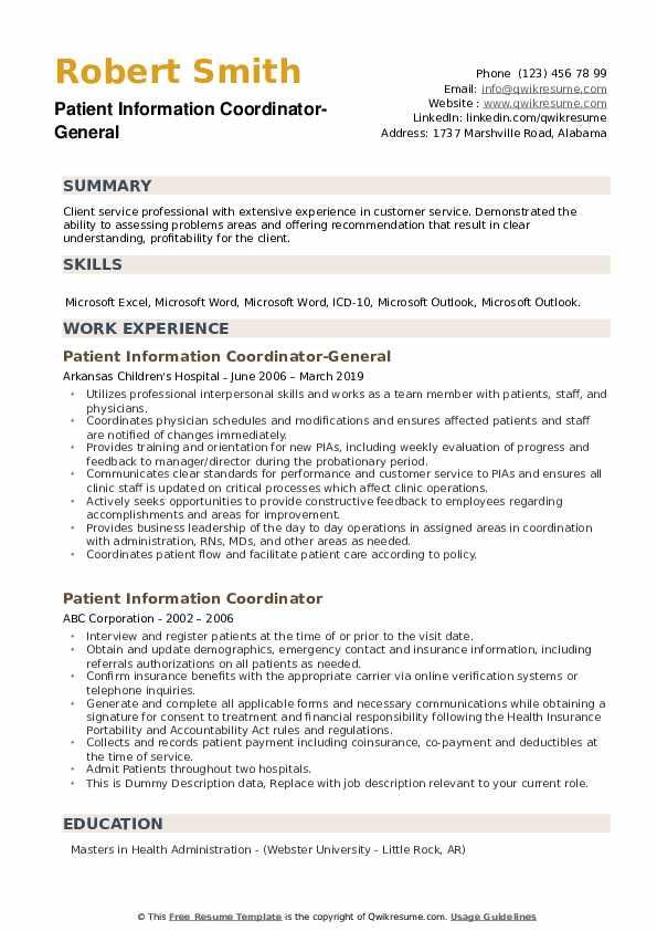 Patient Information Coordinator-General Resume Format