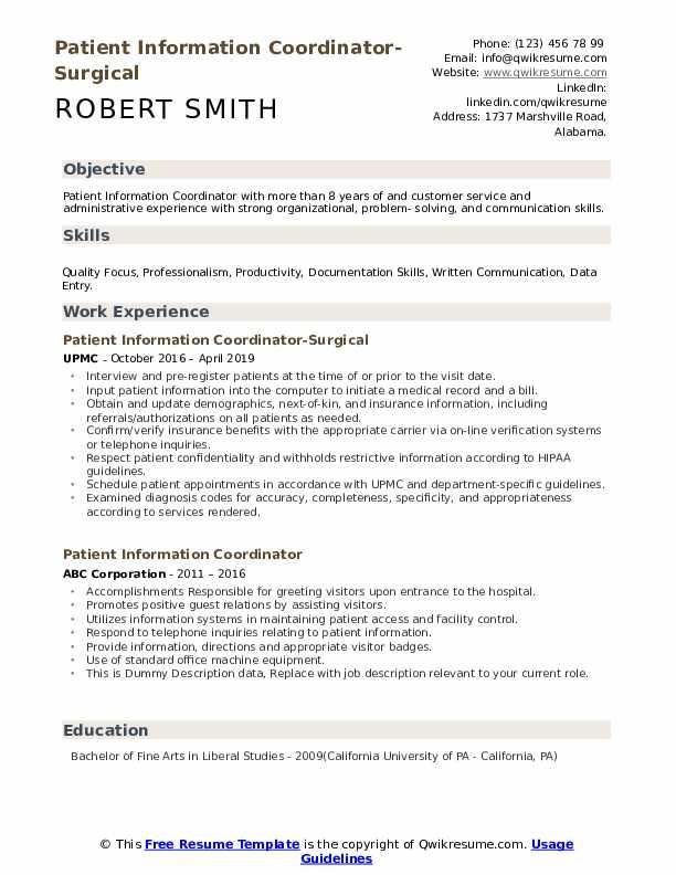 Patient Information Coordinator-Surgical Resume Sample