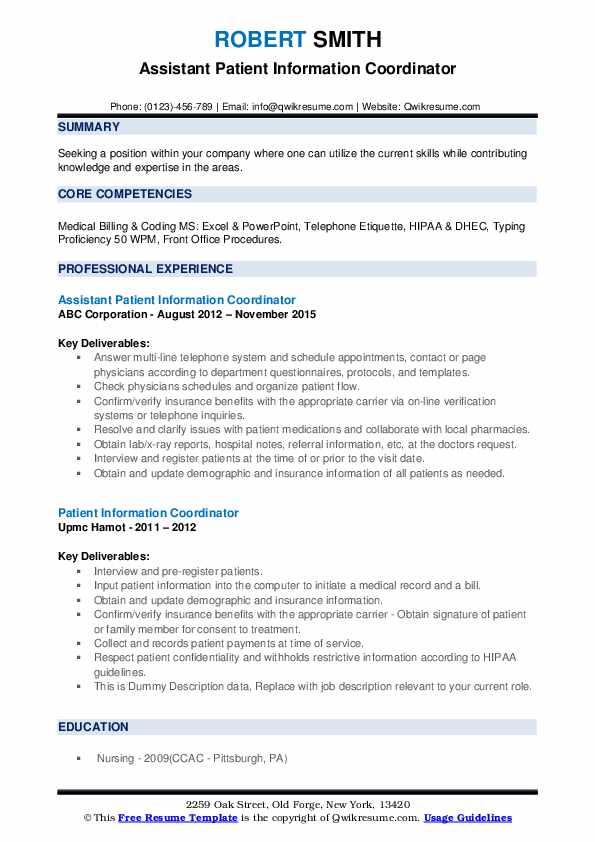 Assistant Patient Information Coordinator Resume Format
