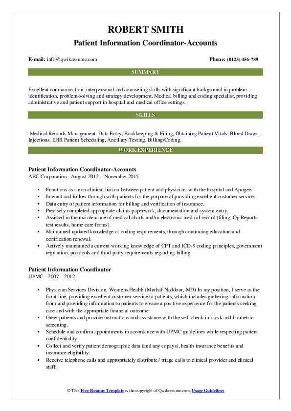 Patient Information Coordinator-Accounts Resume Format
