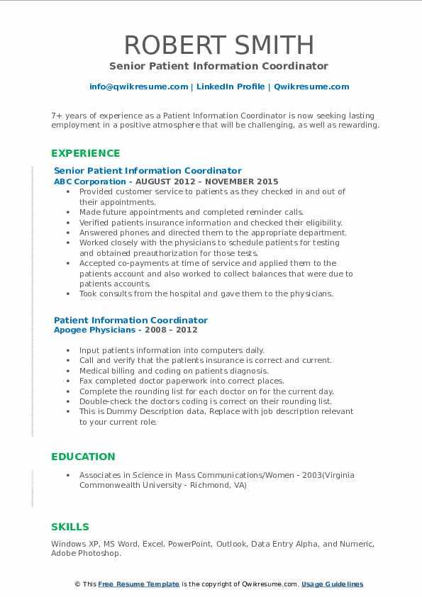 Senior Patient Information Coordinator Resume Template