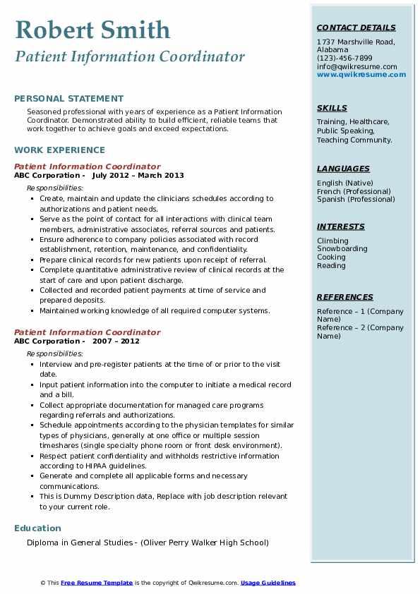 Patient Information Coordinator Resume example