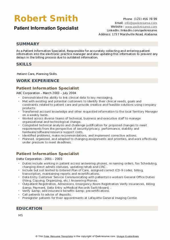 Patient Information Specialist Resume example