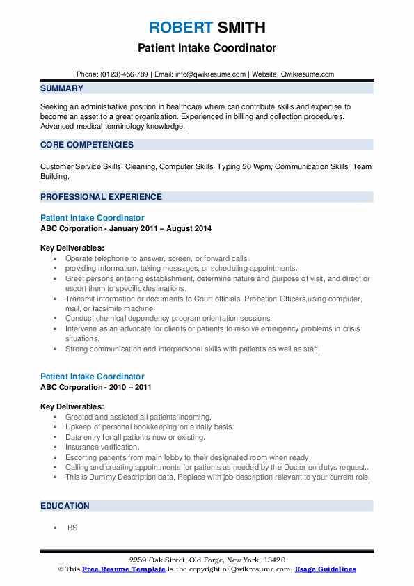Patient Intake Coordinator Resume example