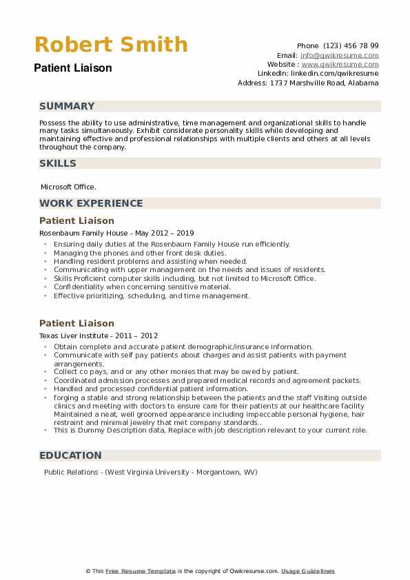 Patient Liaison Resume example