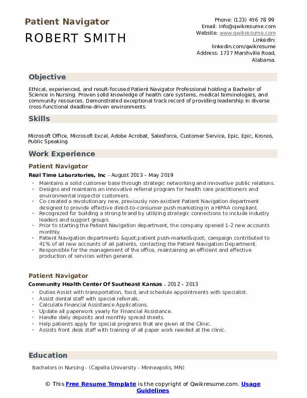 Patient Navigator Resume Template