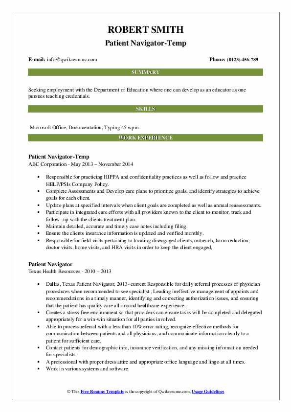 Patient Navigator-Temp Resume Model