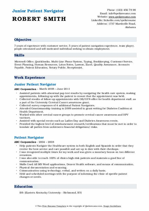 Junior Patient Navigator Resume Model