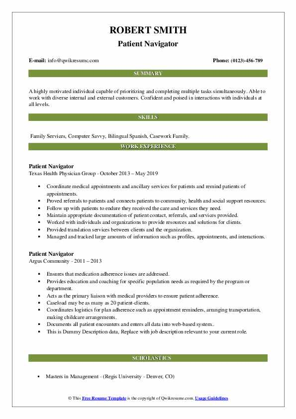 Patient Navigator Resume example