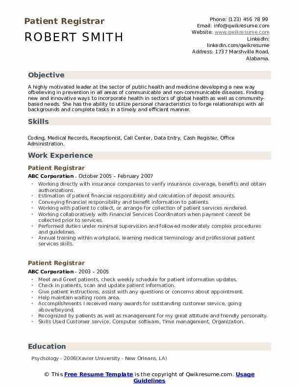 patient registrar resume samples