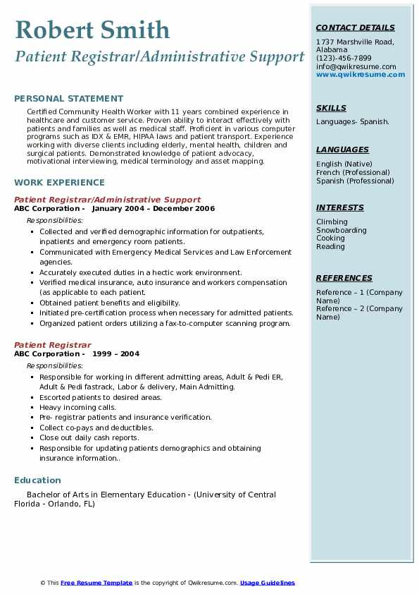 Patient Registrar/Administrative Support Resume Example