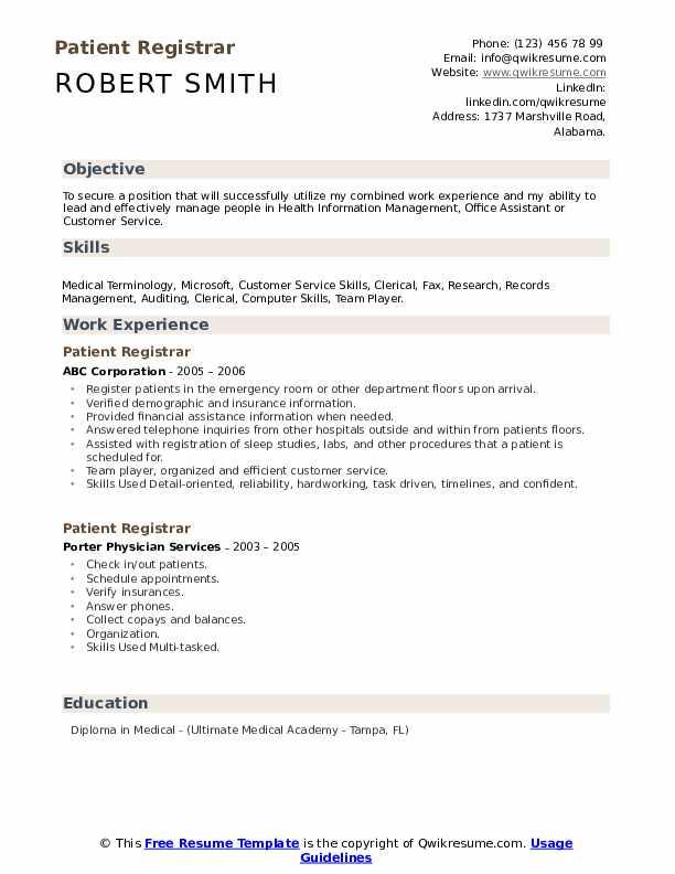 Patient Registrar Resume Samples Qwikresume