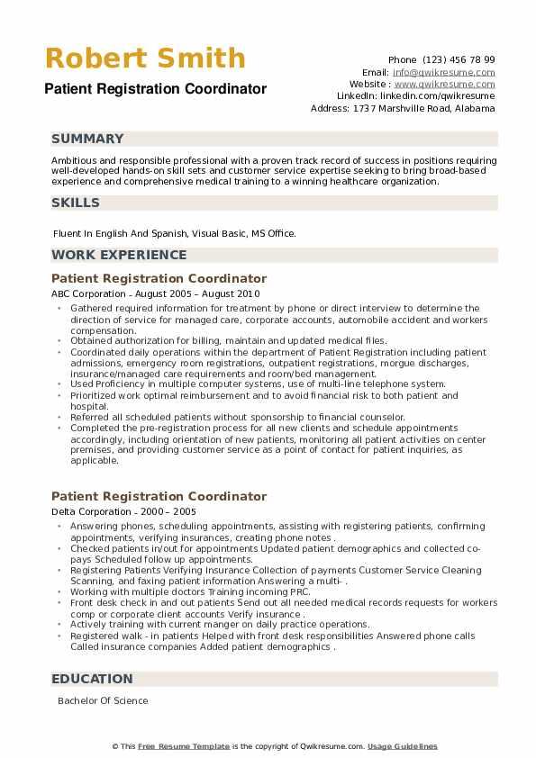 Patient Registration Coordinator Resume example