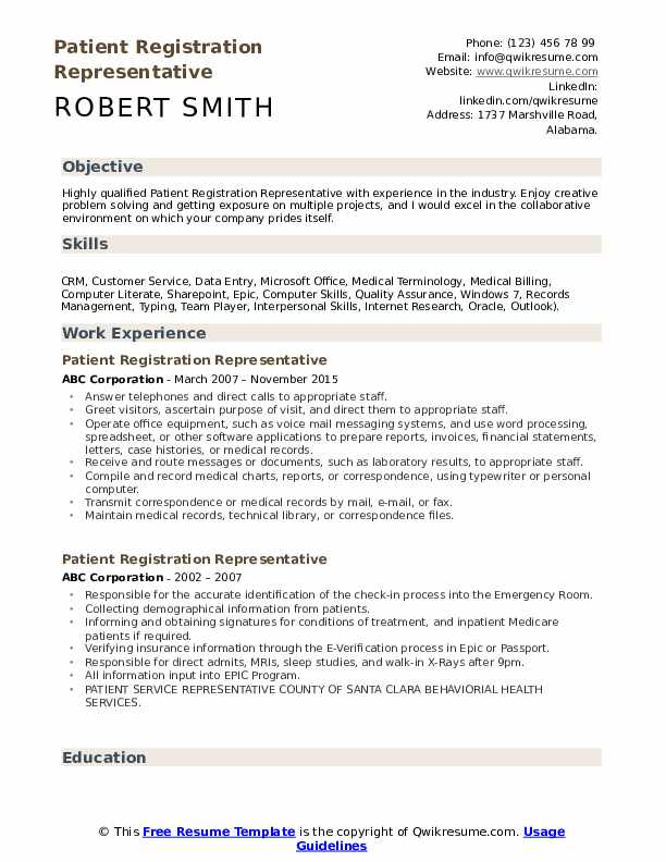 Patient Registration Representative Resume Sample