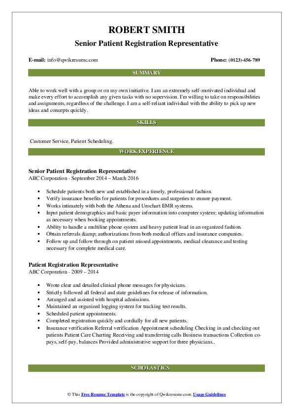 Senior Patient Registration Representative Resume Example