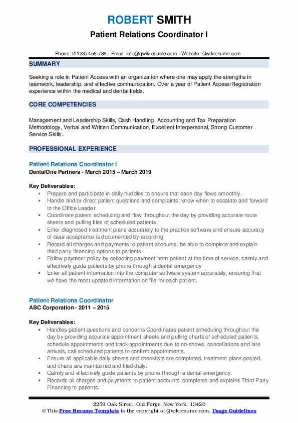 Patient Relations Coordinator I Resume Template