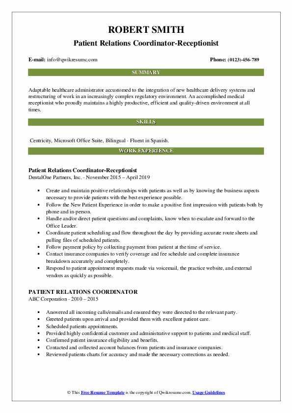 Patient Relations Coordinator-Receptionist Resume Model