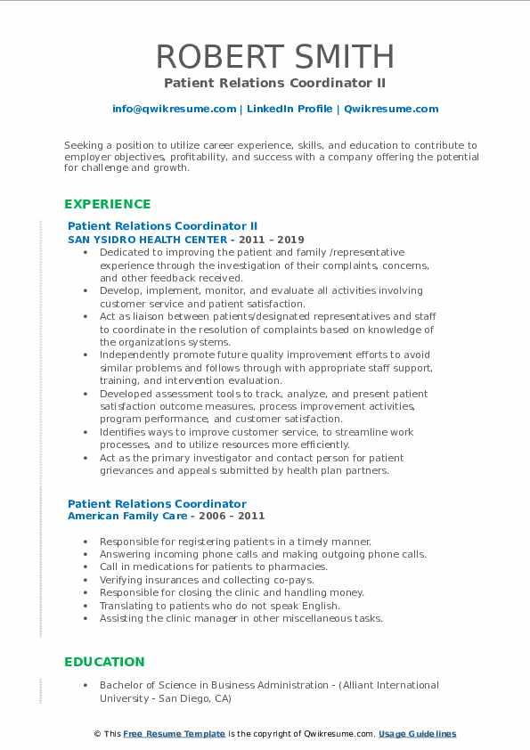 Patient Relations Coordinator II Resume Template