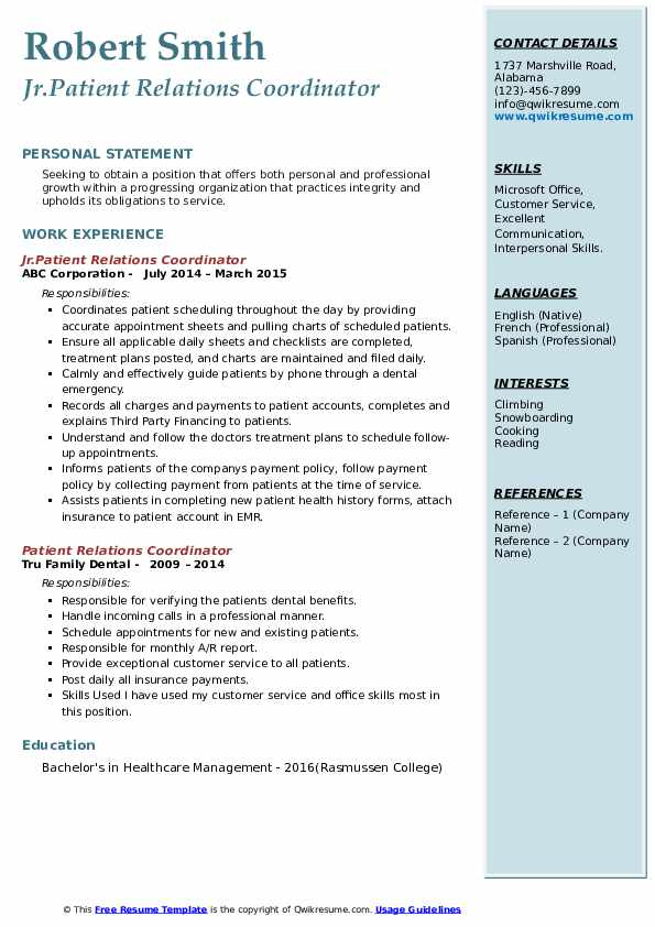 Jr.Patient Relations Coordinator Resume Model
