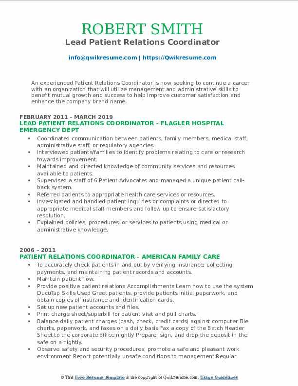 Lead Patient Relations Coordinator Resume Model