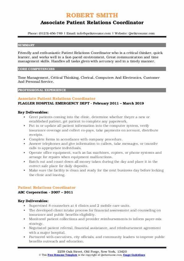 Associate Patient Relations Coordinator Resume Example