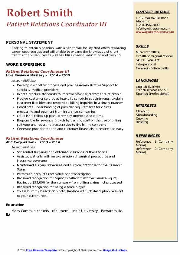Patient Relations Coordinator III Resume Template