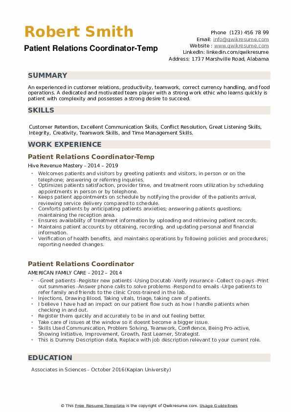 Patient Relations Coordinator-Temp Resume Sample