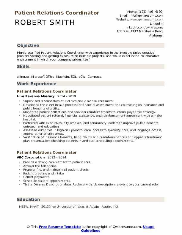 Patient Relations Coordinator Resume example