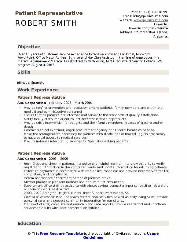 Patient Representative Resume Template