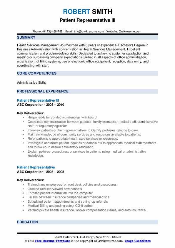 Patient Representative Resume Samples | QwikResume