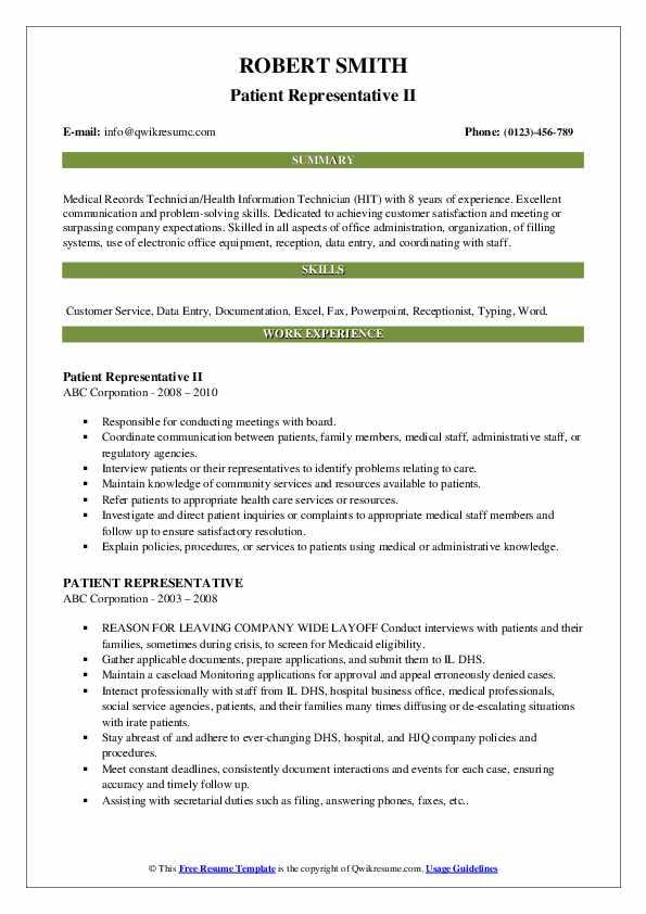 Patient Representative II Resume Example