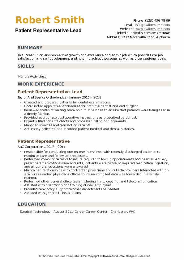 Patient Representative Lead Resume Format
