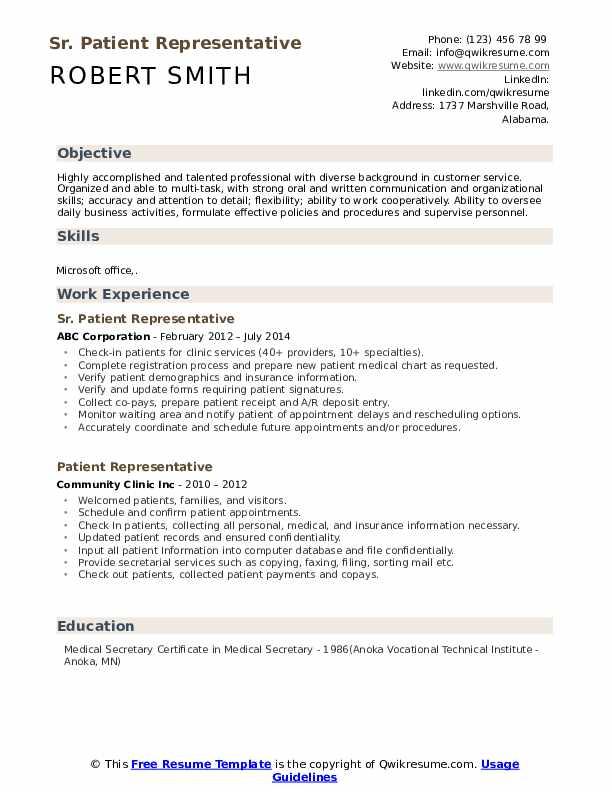 Sr. Patient Representative Resume Template