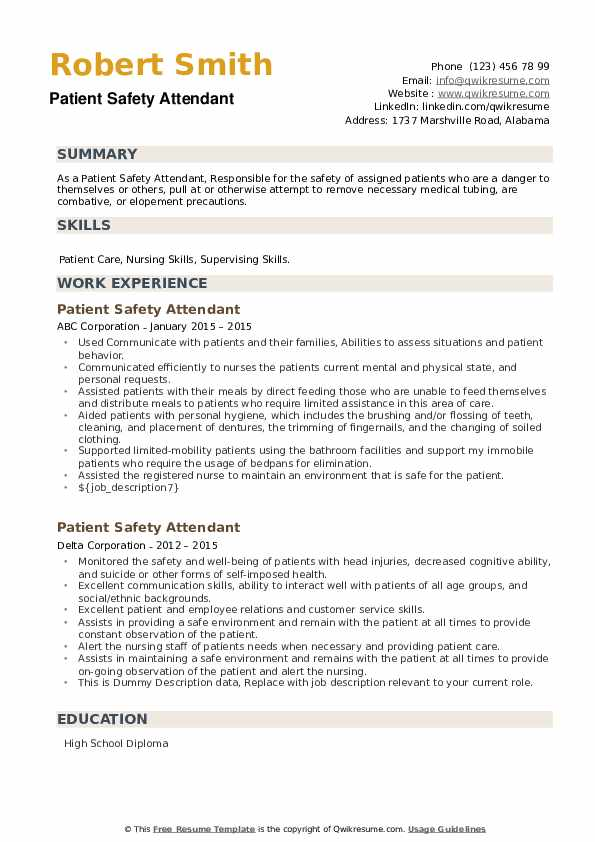 Patient Safety Attendant Resume example