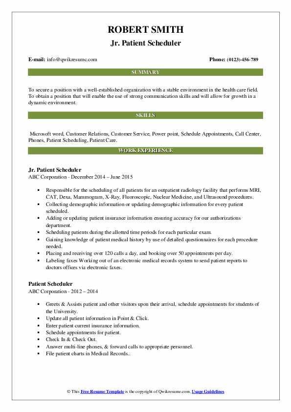 Jr. Patient Scheduler Resume Model