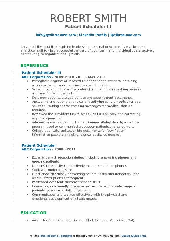 Patient Scheduler III Resume Format