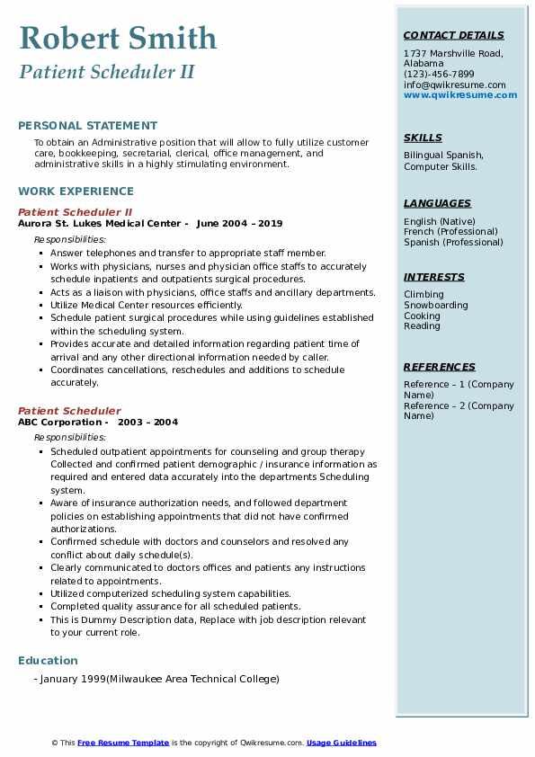 Patient Scheduler II Resume Template