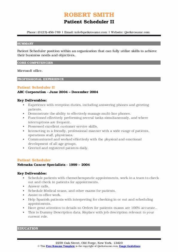 Patient Scheduler II Resume Sample
