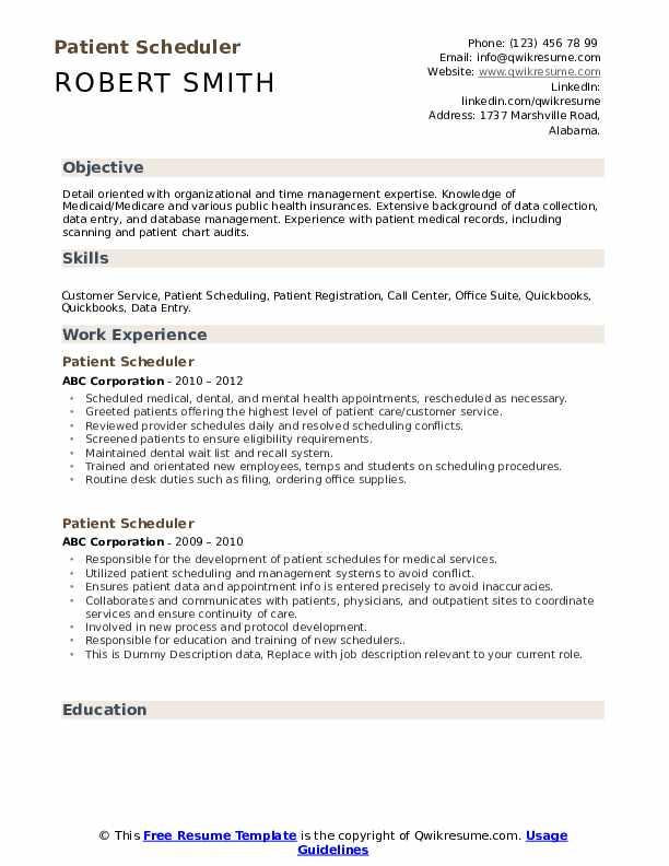 Patient Scheduler Resume example