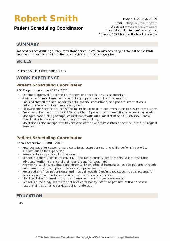 Patient Scheduling Coordinator Resume example