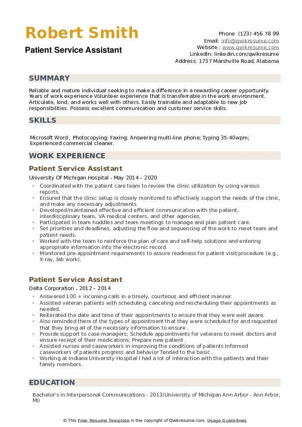 Patient Service Assistant Resume example