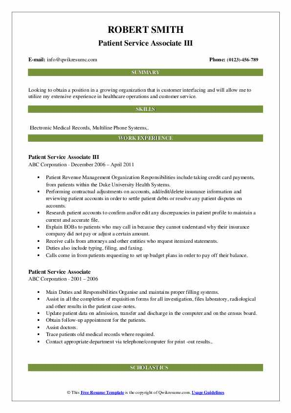 Patient Service Associate III Resume Sample