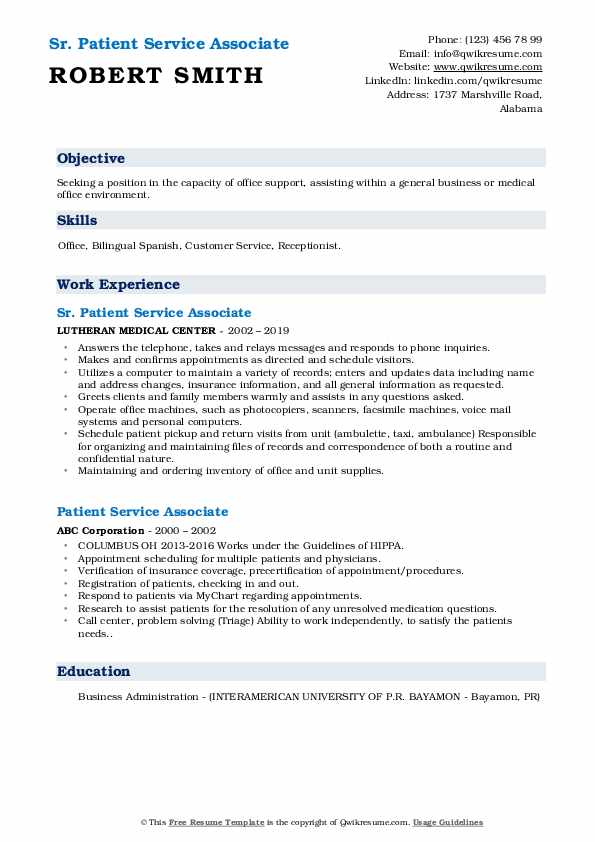 Sr. Patient Service Associate Resume Template