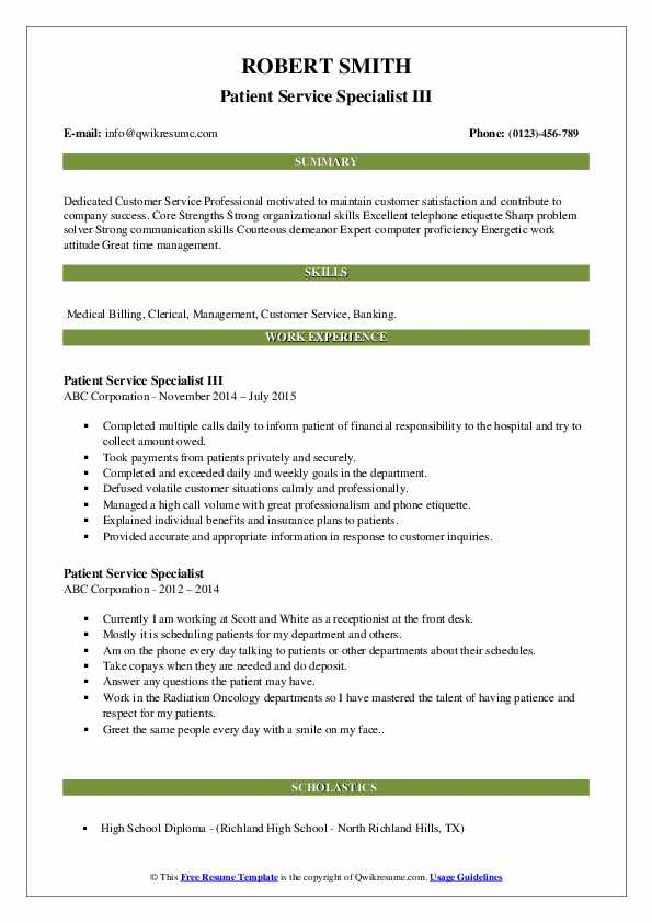 Patient Service Specialist III Resume Sample