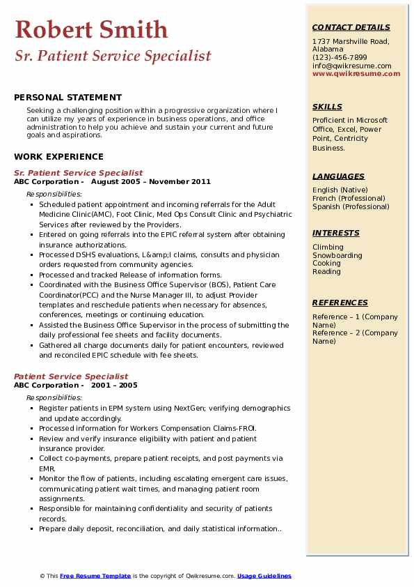 Sr. Patient Service Specialist Resume Sample